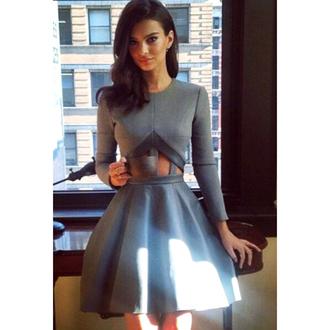 long sleeve dress cut out dress cut-out dress skater dress gray dress grey dress a line dress