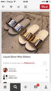 shoes,nike gold liquid benassi solar sliders