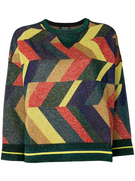 sweatshirt metallic women geometric cotton print sweater
