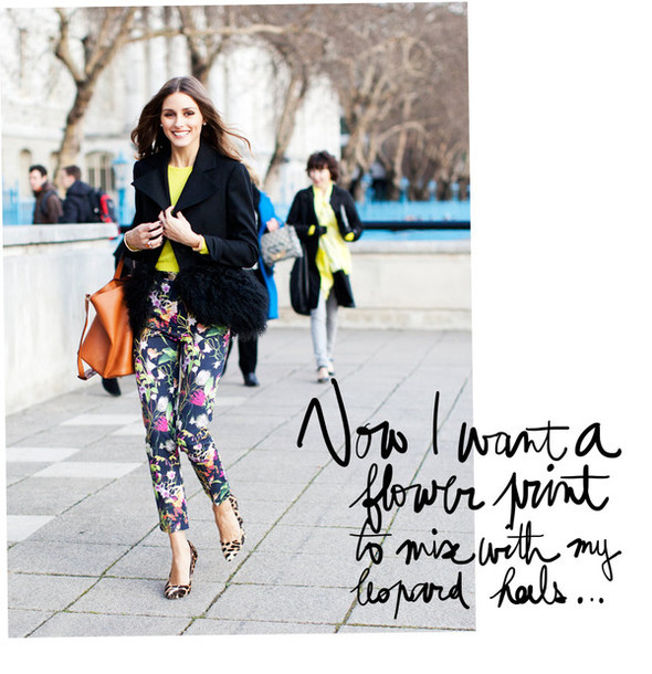 garance dore pants shoes printed pants olivia palermo
