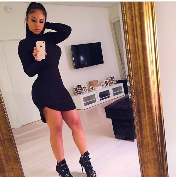 dress black dress and black shoess