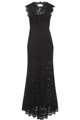 gown back open lace black dress