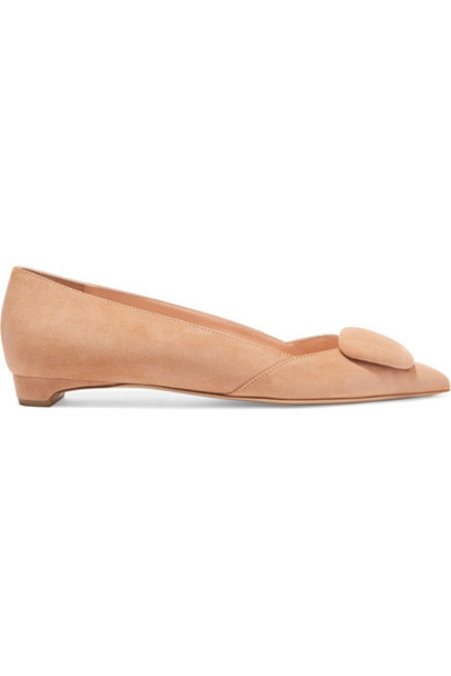 Rupert Sanderson - Aga Suede Point-toe Flats in sand