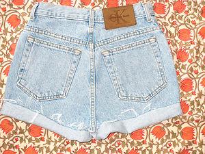 Vtg ck calvin klein usa light blue w25 high waisted jean hotpants cutoff shorts