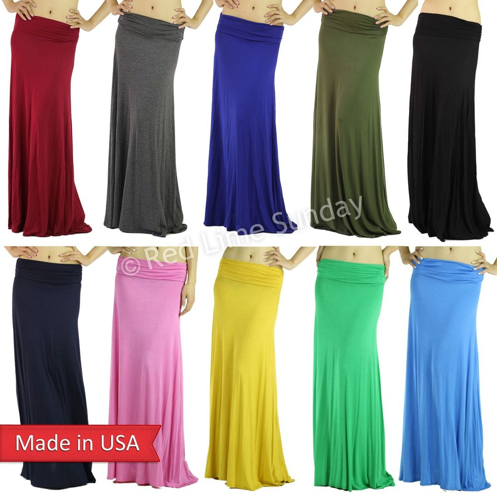 New Women Solid Color Casual Lightweight Rayon Jersey Flared Long Maxi Skirt USA