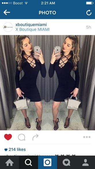 dress black lace up tie up ladder long sleeves black dress