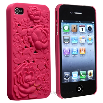 Hot Pink 3D Sculpture Design Rose Flower Hard Plastic Cover Case for iPhone 4 4S | eBay