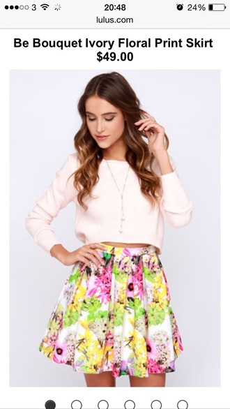 top crop tops pink tops cute top flower skater skirt