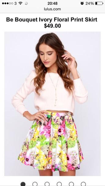 top crop tops pink top cute top floral skater skirt