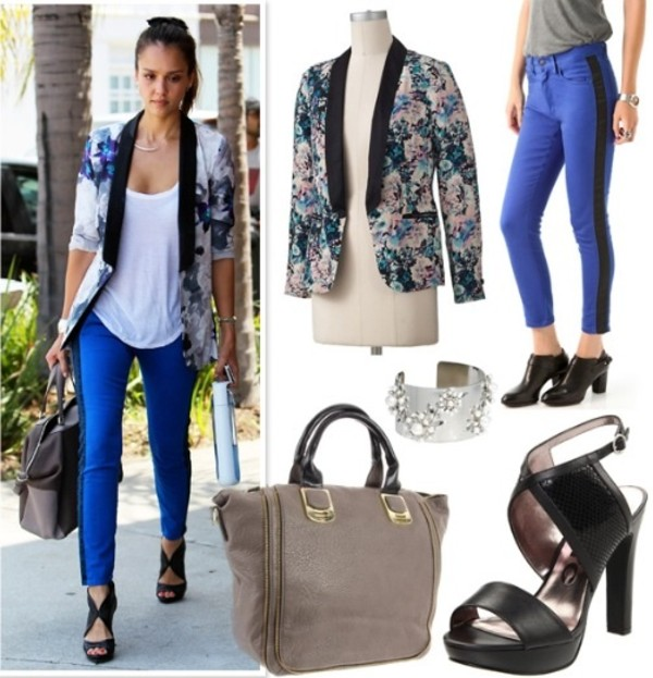 jacket jessica alba vest veste flowers fleurs blue bleu bleue t-shirt t-shirt white jeans denim bag clothes pants