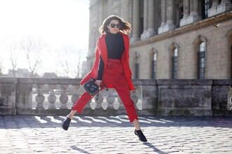 frassy blogger red pants cropped pants pants sunglasses