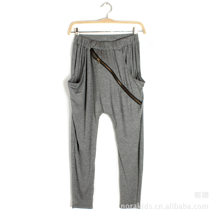 New fashion Spring Autumn Korean oblique zipper knitted waist harem pants trousers skinny Women's Ladies' pants-in Pants & Capris from Apparel & Accessories on Aliexpress.com