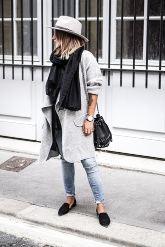 le fashion image blogger hat scarf coat bag jeans
