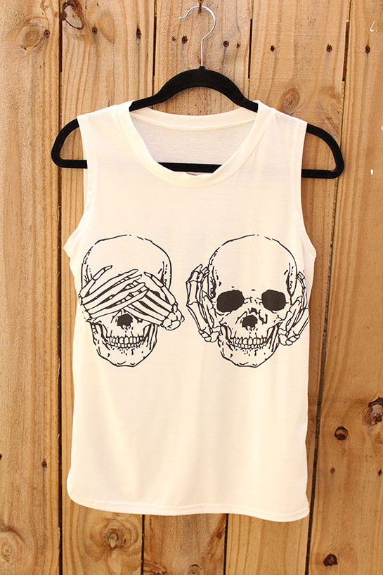 No evil skull sleeveless tee (unisex)