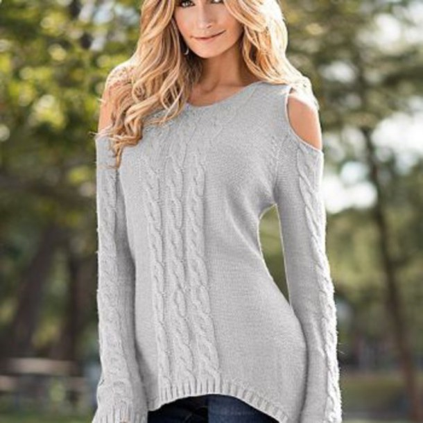 sweater grey sweater cold shoulder blouse swearer