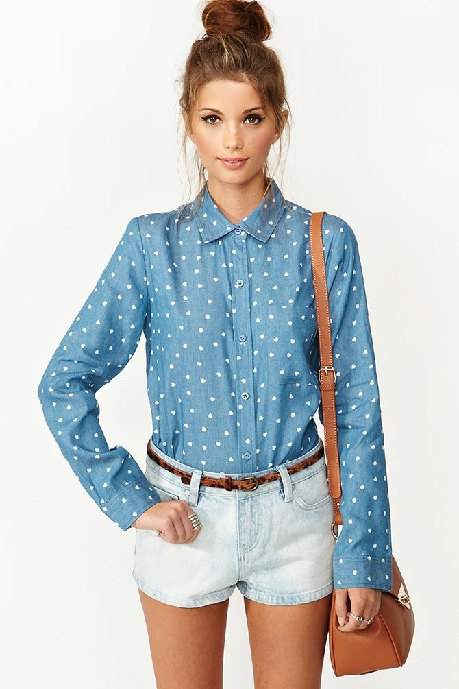 Shape with small white heart printed jeans simple apparel denim shirt with casual loose top grade blouse lj107qaf