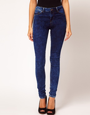 ASOS Supersoft High Waisted Ultra Skinny Jeans in Dark Acid Wash ...