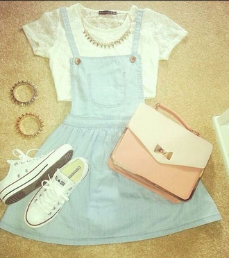dress jacket bag light blue shirt pinafore dress denim dress light wash denim white crop tops white converse light pink pink shoes denim white t-shirt blue dress converse pink purse clutch necklace cute dress girly cute outfits skirt
