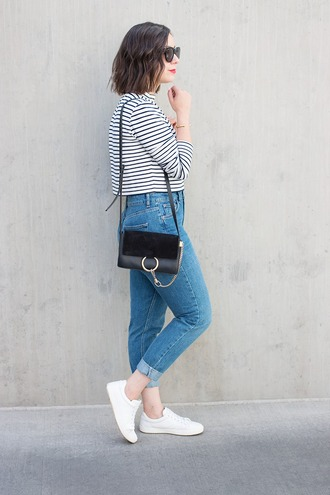 adventures in fashion blogger top jeans shoes sunglasses bag jewels striped top chloe faye bag blue jeans shoulder bag black bag sneakers white sneakers black sunglasses