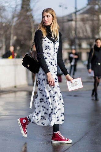 shoes red converse high top converse high top sneakers sneakers red sneakers converse dress maxi dress printed dress white dress top black top long sleeves bag black bag chanel chanel bag shoulder bag streetstyle fall outfits