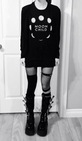 black sweater moon style grunge alternative