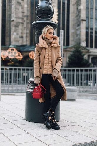 bag coat tumblr backpack red backpack mini backpack camel camel coat jacket leggings black leggings boots black boots