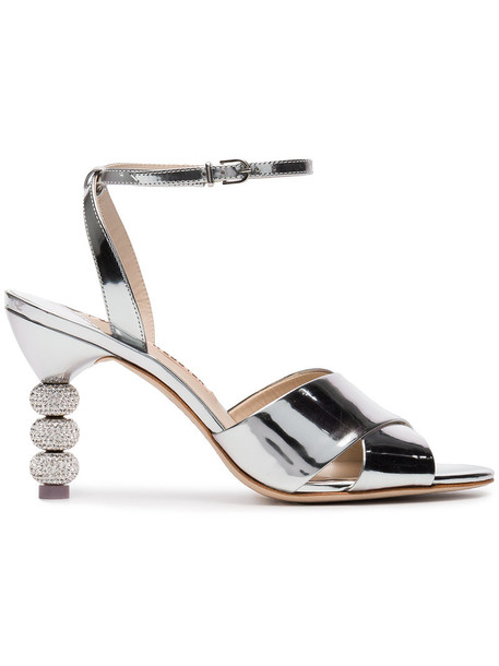 Sophia Webster women sandals silver leather grey metallic shoes