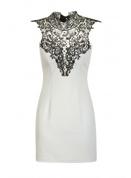 White Mini Bodycon Dress With High Lace Neck