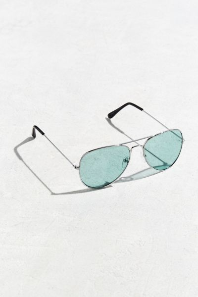 Turquoise Top Gun Aviator Sunglasses