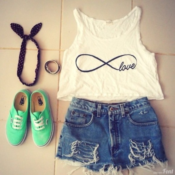 shoes green shoes vans turquoise infinity tank top shorts shirt jewels