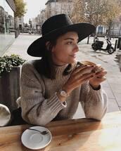 sweater,beige sweater,watch,silver watch,hat,black hat,jewels