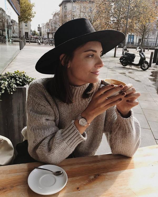 sweater beige sweater watch silver watch hat black hat jewels