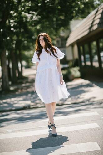 themiddlecloset blogger dress shoes bag summer dress white dress