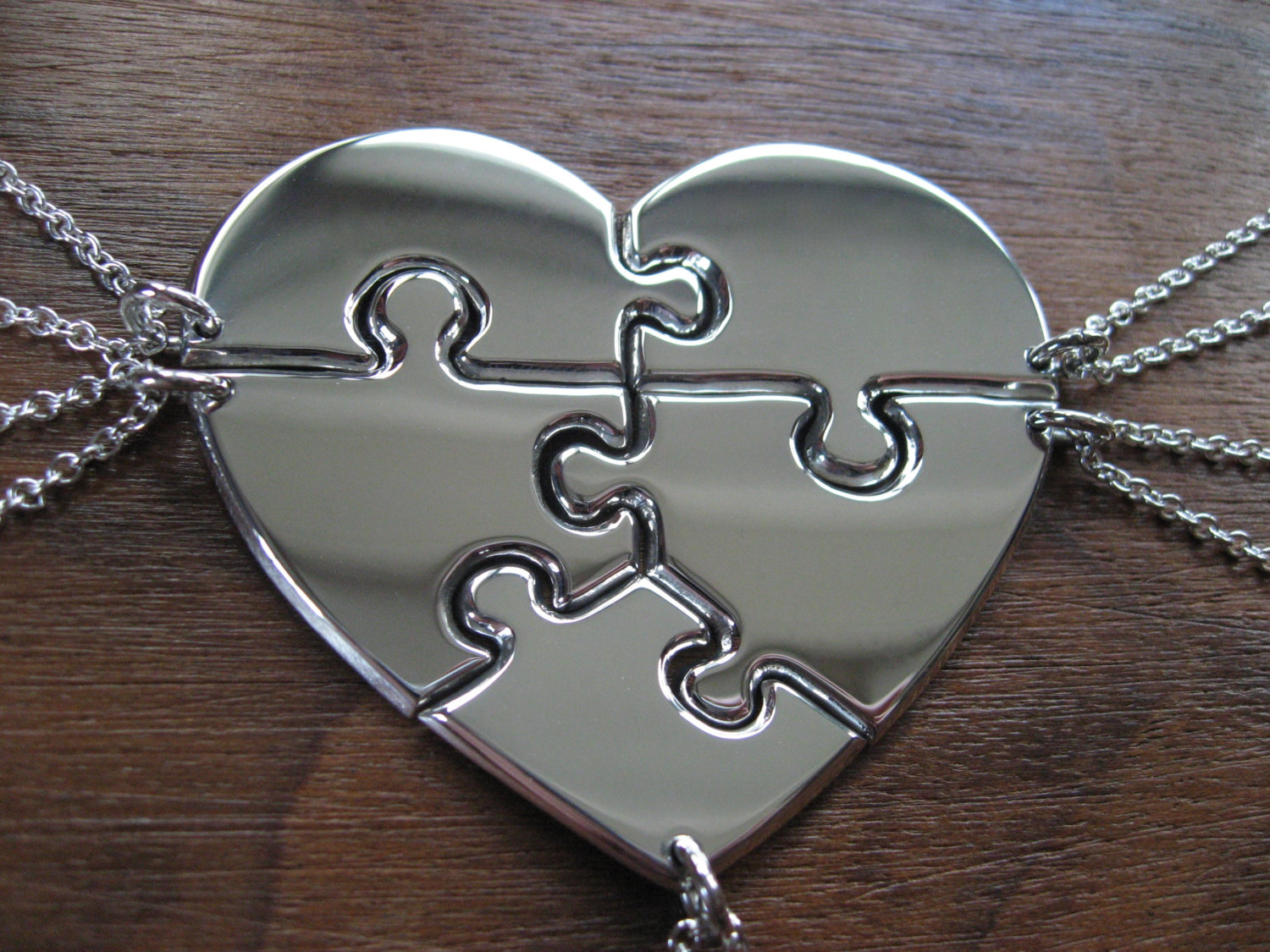 Five Piece Heart Puzzle Necklace Pendants