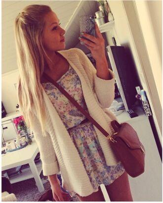 dress cardigan flowerprint dress blonde cute flowers floral dress girl