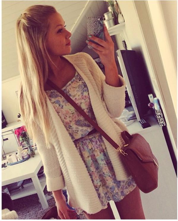 dress cardigan flowerprint dress blonde cute flowers floral dress girl