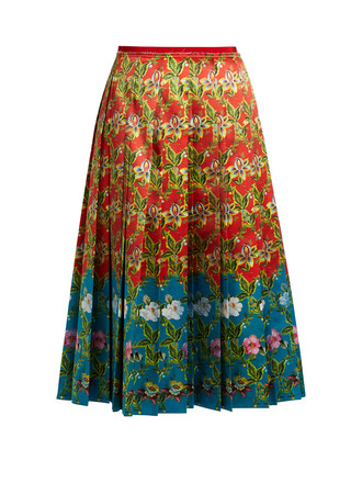 skirt pleated floral print silk satin red