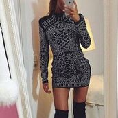 dress,mischievous socialite,balmain,long sleeves,high neck,turtleneck,bodycon,embellished,mini,above knee dress