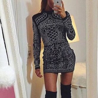 dress mischievous socialite balmain long sleeves high neck turtleneck bodycon embellished mini above knee dress