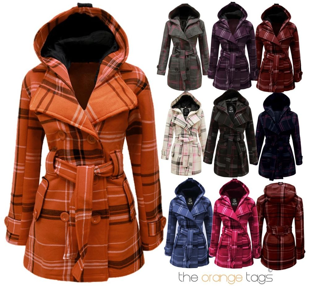LADIES BELTED BUTTON MILITARY CHECK COAT WOMENS HOODED WINTER JACKET SIZE 8-14 | eBay