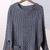 Dark Grey Batwing Long Sleeve Pockets Sweater - Sheinside.com
