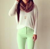 pants,lime,jumper,sweater,shirt,mint,long trousers,green,tights,girl,pastel,long sleeves,loose fit sweater,cute top
