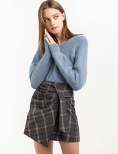 sweater,blue grey angora v neck sweater,angora,v neck,sweater weather