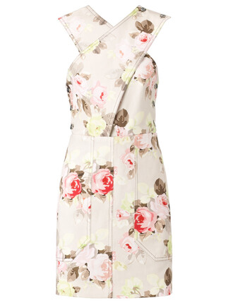 dress floral cotton beige