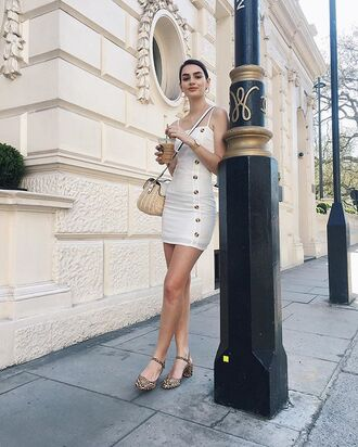 shoes sandals leopard print white dress mini dress bag