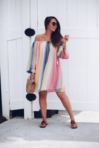 fashionably kay blogger dress bag shoes sunglasses jewels sandals summer dress summer outfits cult gaia bag