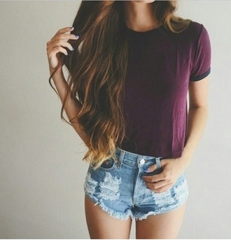 t-shirt shorts distressed denim shorts shirt mini shorts purple crop tops burgundy high waisted shorts burgundy top hairstyles plum denim blue short shorts