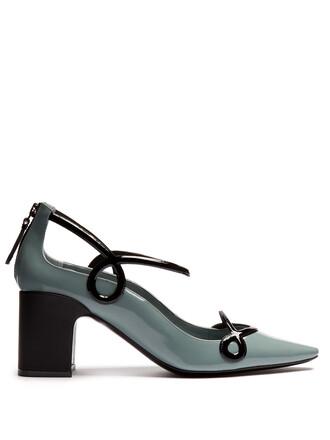 pumps leather blue black shoes