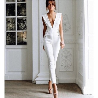 jumpsuit white jumpsuit nude jumpsuit plunge v neck summer outfits party outfits classy girly date outfit cute romantic