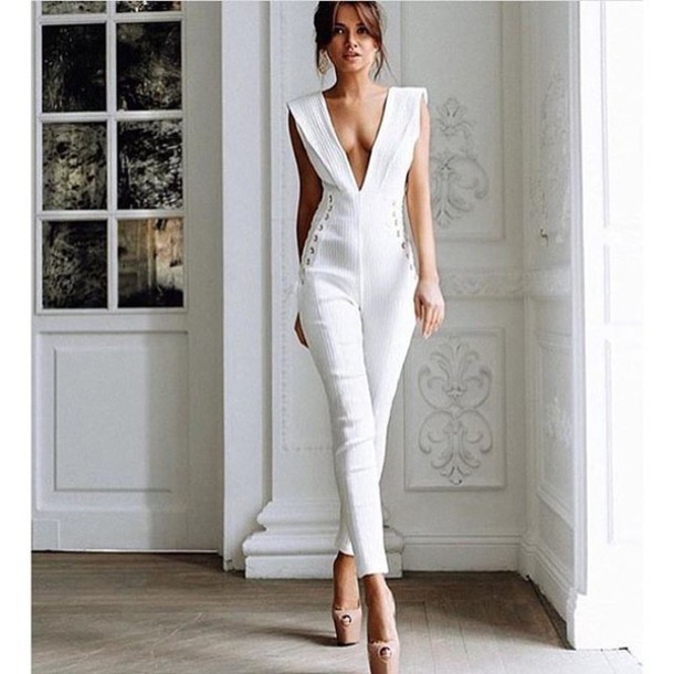 Jumpsuit: white jumpsuit, nude jumpsuit, plunge v neck, summer ...